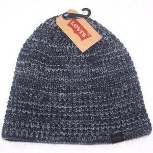 LEVIS BEANIE HAT CAP NAVY BLUE GRAY ONE SIZE NEW